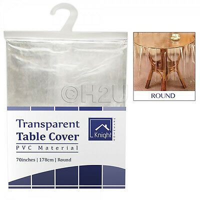 """70"""" Round Table Cover Clear Tablecloth Wipe Clean Vinal Dining Protector Pvc"""