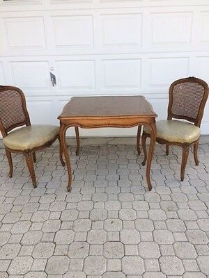 Vintage French Leather Wood Card Game Dining Dinette Table Two Carved Chairs