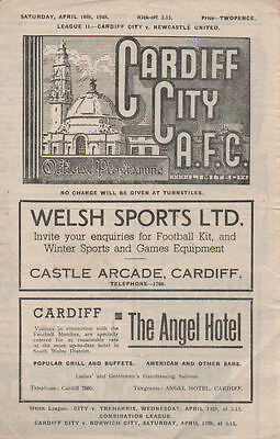 Cardiff City v Newcastle United 10/4/1948
