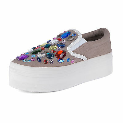 Jeffrey Campbell Sneakers Donna W Ice001 Canvas - Natural white