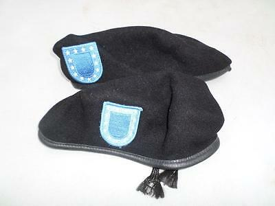 Usgi Military Berets Lot Of 2 Size 7  1/8 Black With Flash Patch Used