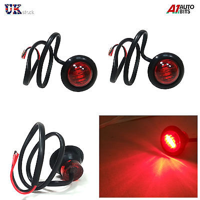 8X 24V OUTLINE ROUND SIDE MARKER 3 LED RED LIGHTS LAMPS FOR LORRY TRAILER TRUCK