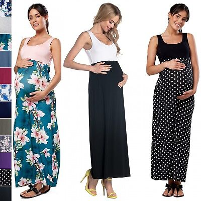 Happy Mama. Women's Maternity Maxi Dress Empire Waist Pregnancy Sleeveless. 292p