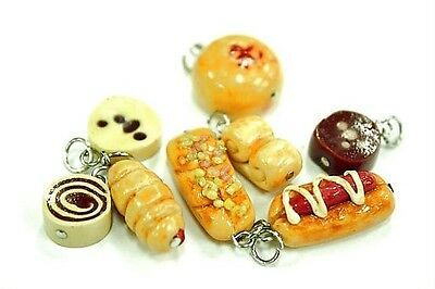 8 Miniature Polymer Clay Handcraft Dollhouse Food Bakery Charms Pendants Jewelry