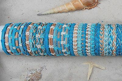 30 PIECES MIX BLUE LEATHER SURF FRIENDSHIP BRACELETS WRISTBAND WHOLESALE / b057
