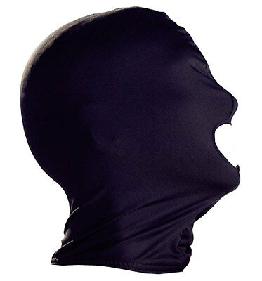 Maschera passa montagna Fetish Bondage Blindfold Eye Mask Mouth Black