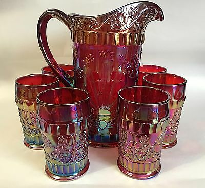 L G Wright Red Carnival Glass GOD BLESS OUR HOME Water Pitcher & Six Tumblers