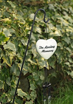 Memorial Heart In Loving Memory Wind Chime With Stick Grave Side Ornament 46cm