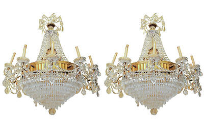 Pair Antique Electrified French Neoclassical Bronze & Crystal Chandeliers