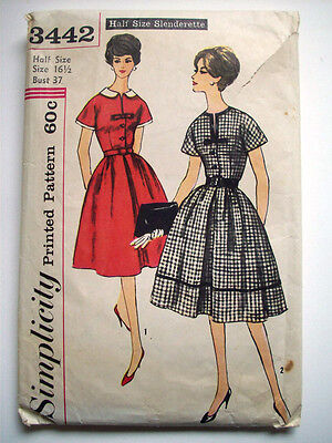 1950's women's  full skirt bow detail fitted bodice pattern 3442 size 16 1/2