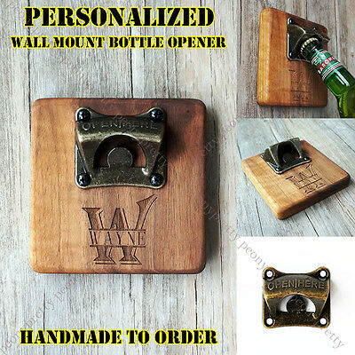 Personalized Vintage Style Bar Beer Top Wooden Bottle Cap Wall Mount Iron Opener