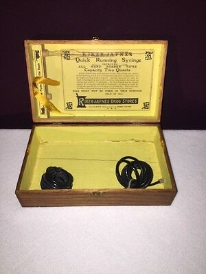 Antique Medical Fountain Syringe Wooden Box Riker-Jaynes Hospital Supplies Neat!