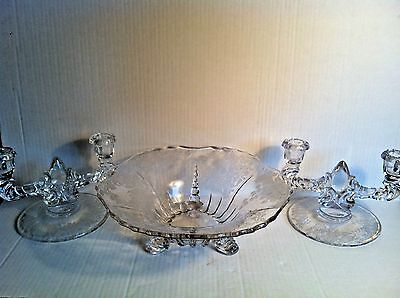 Antique Etched Glass Console Bowl Double Candlesticks FLORENCE NEW MARTINSVILLE