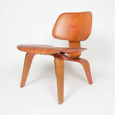 Eames Herman Miller 1950 LCW Early Red Aniline, All Original Lounge Chair