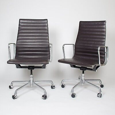 Eames Herman Miller Leather High Executive Aluminum Group Desk Chairs (6 avail)