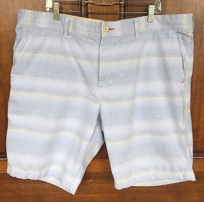 Tommy Bahama Cotton Relax Shorts Blue White & Pale Yellow Striped Men's Sz 42