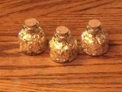 Gold Flakes in Mini Glass 10 ML Bottles (Lot of 3)