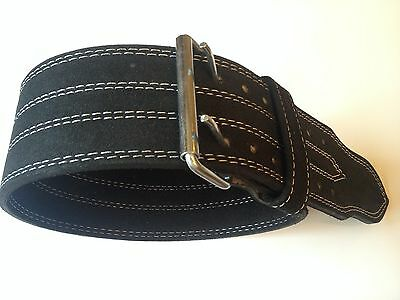 Real Black Leather Two Prong Weight Lifting Belt - Gym Squat Back Deadlift Strap
