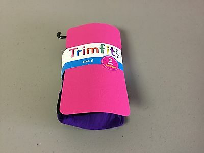 NWT 3 Pair Girl's Trimfit Opaque Tights Size 4-6 Pink/Purple/Black #168R