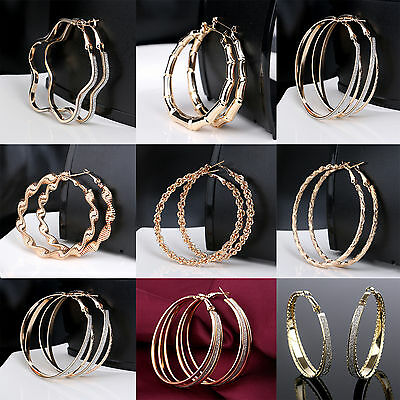 dcc1803566 WL New Fashion Women  Crystal Hoop Round Big Earrings Ear Stud Matte Jewelry