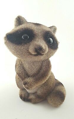 """Vintage Flocked Fuzzy Racoon Plastic Coin Bank With Stopper 5.75"""" Tall"""