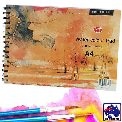 A4 Watercolour Notebook Pad 24 Sheets 180g Water Color Paper 297x210mm SFPA52624