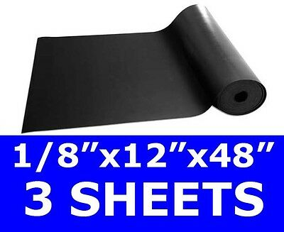 "3 SHEETS 1/8"" thick Neoprene Rubber Sheet 12"" x 48"" Long Black 60 duro FREE SHIP"