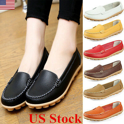US Womens Lady Casual Oxfords Flats Shoes Comfort Leather Ballet Loafers Shoes