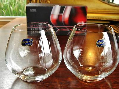 Contemporary Bohemia Crystal stemless wine glasses. Pair Boxed. NEW