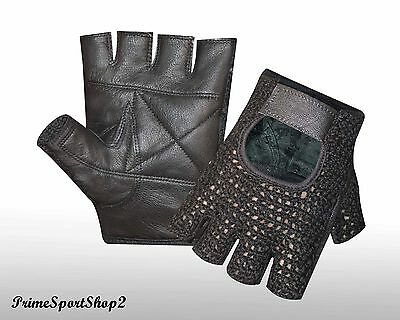 New* Leather Fingerless Gel Cotton Mesh Weight Lifting Exercise Gym Gloves
