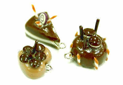 6 Miniature Polymer Clay Handcraft Dollhouse Food Bakery Charms Pendant Jewelry