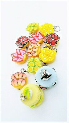8 Miniature Polymer Clay Handcraft Dollhouse Food Bakery Charms Pendant Jewelry
