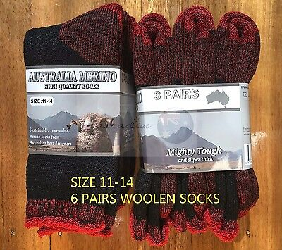 6 Pairs 11-14 Heavy Duty Australian Merino Extra Thick Wool Work Socks Black/Red