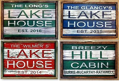 "Personalized ""Lake House"" timeworn sign 