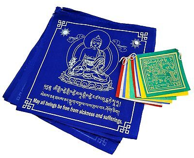 Tibetan Prayer Flags Large Solid Blue Color Medicine Buddha Healing Flags