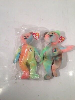 *RARE* Ty Peace Beanie Baby Collectible w/ ALL ERRORS Retired LOT of 2