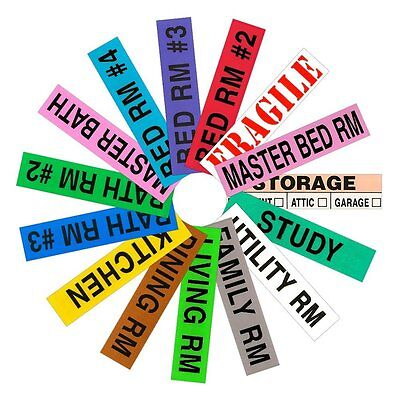 800 Count Tag-A-Room Color Coded Home Moving Box Labels 4 Bedroom House Pack