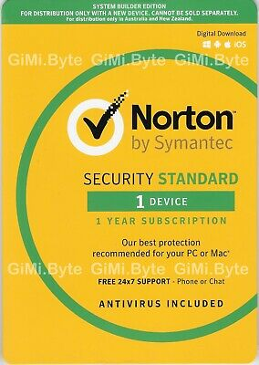 Symantec Norton Internet Security Standard 2018 Antivirus 1 User 1 Year MAC PC