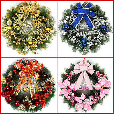 Christmas Wreath with Bow Handcrafted Holiday Wreath for the Front Door 40CM FOU