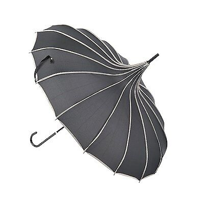 Topwedding 35 Nylon Pagoda Vintage Parasol Bridal Rain Umbrella,Black