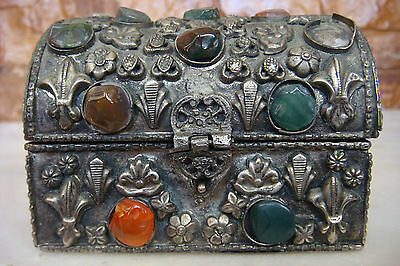 OLD VINTAGE HANDMADE Metal Agate Stones  JEWELRY BOX WITH FLOWERS MODEL