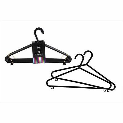 20 Plastic Black Coated Clothes Hangers For T-Shirts Jackets Tops Garments UK