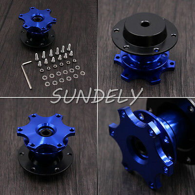 Hi-Q Steering Wheel Quick Release Hub Adapter Removable Snap Off Boss Kit Blue