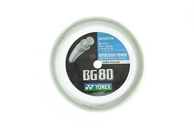 Genuine Yonex BG80 Badminton String BG 80 - 200m Reel - White