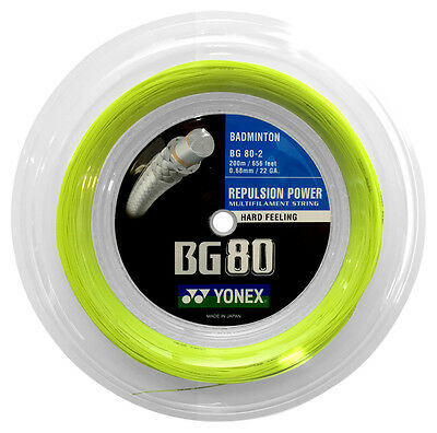 Genuine Yonex BG80 Badminton Racket String - 200m Reel - Yellow