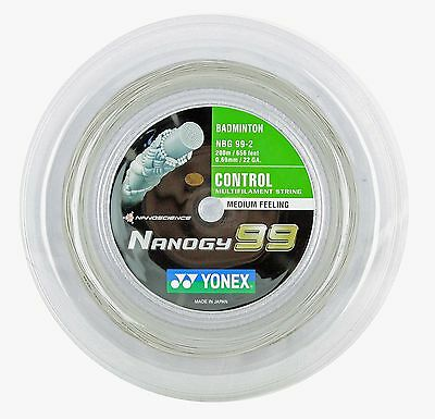 Genuine Yonex NBG99 Nanogy 99 Badminton String - 200m Reel  - White