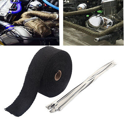 10M Exhaust Manifold Downpipe Heat Wrap Pipe Tape w/Cable Tie Car Motorbike Kit