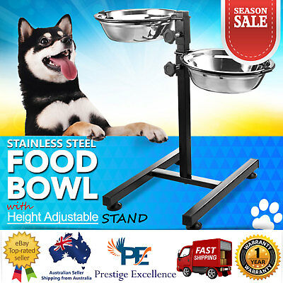 Pet Bowl Height Adjustable 2 Removable Bowls & Stand Dog Food Water Dish Raised