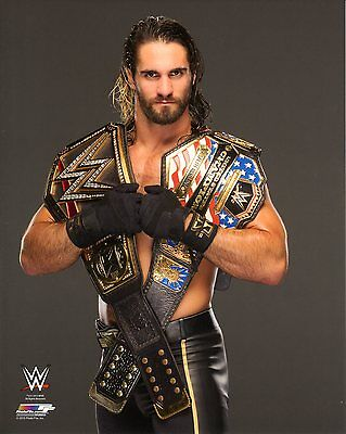 """WWE PHOTO SETH ROLLINS WITH US & WWE TITLE BELT WRESTLING OFFICIAL 8x10"""" PROMO"""