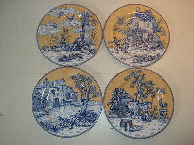 """American Atelier English Toile Blue 8"""" Plates 5076 - Set Of 4"""